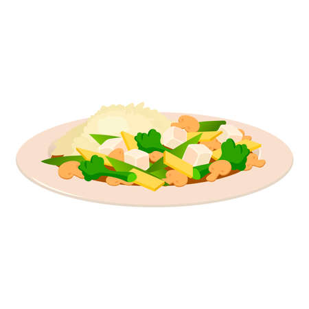 Pie with salad on a white background.