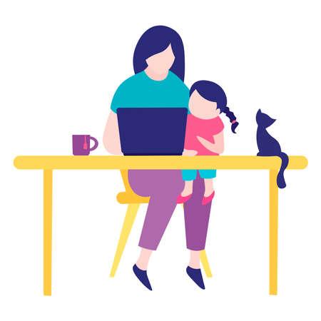Work at home. Children interfere with work. Illustration