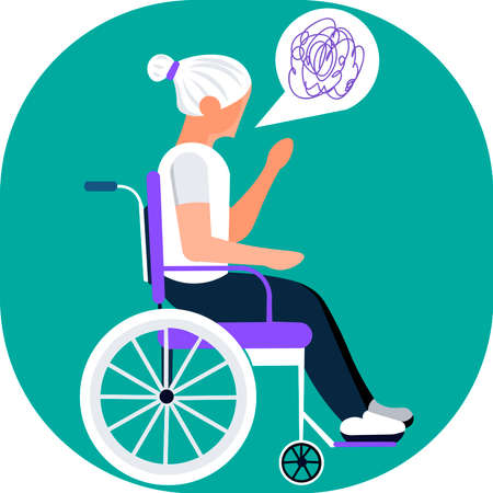 Picture of a girl in a wheelchair communicating. Vector illustration