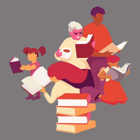 Picture of a family reading a book. Çizim