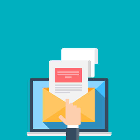 Illustration of email on a blue background. Çizim