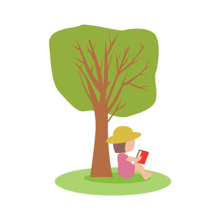 Picture of a girl sitting under a tree reading a book.