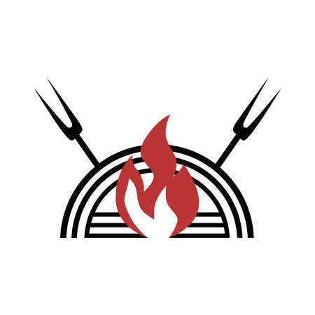 Fire and dish icon on a white background.
