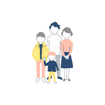 Picture of a family on a white background
