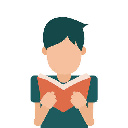 Picture of a guy reading a book on a white background. Vector illustration.