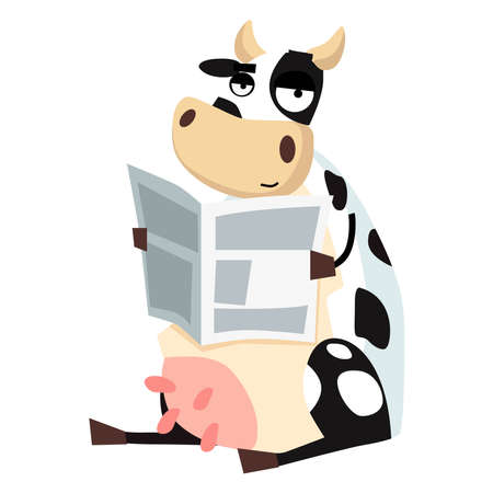 Picture of a cow reading a newspaper on a white background. Vector illustration. Çizim