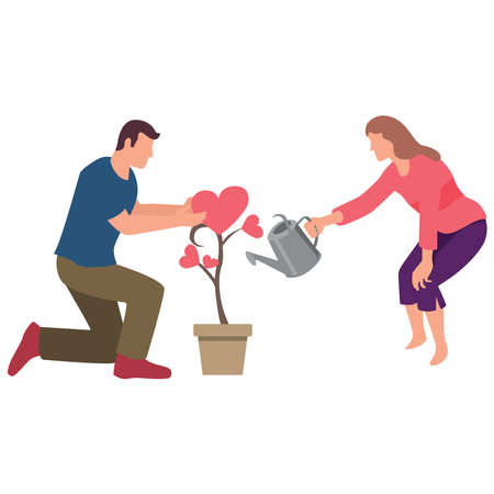 Couple of young people watering a love plant. Ilustração