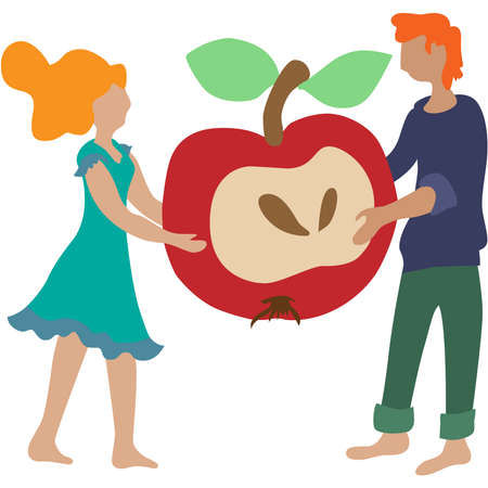 Couple of young people sharing an apple.