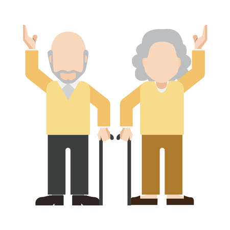 Young retired couple on a white background. Ilustração