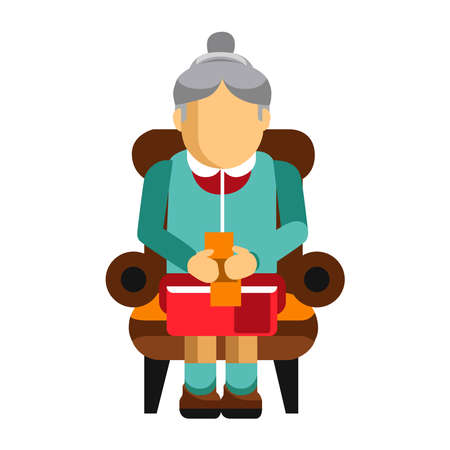 Grandmother embroiders on a white background. Vector illustration
