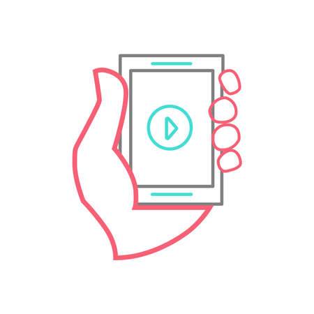 Picture of a hand holding a phone. Vector illustration. Vectores