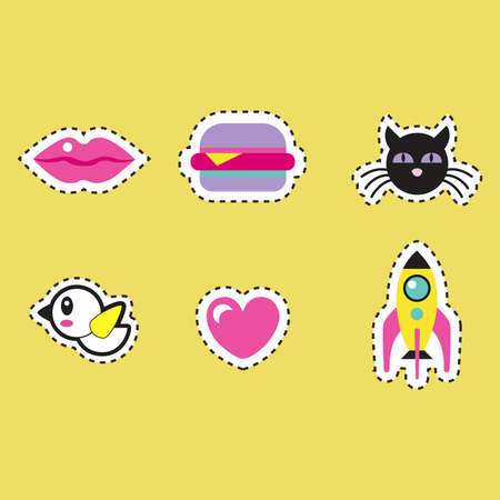 Set of stickers on a yellow background.