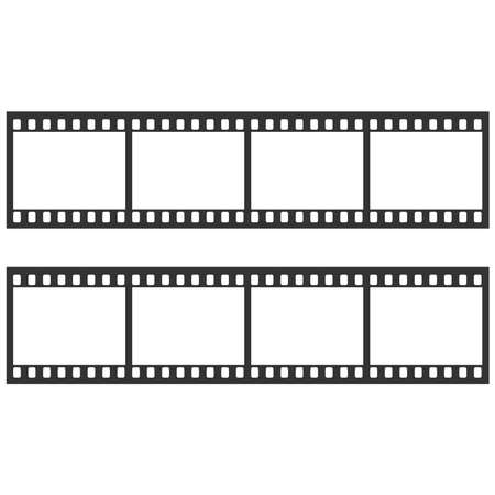 Black film strip on white background. Vectores