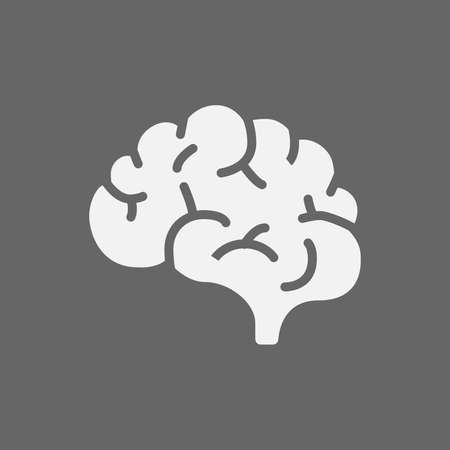 Brain icon on a gray background.