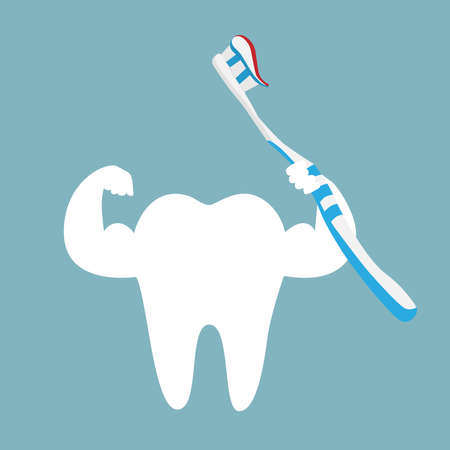 Tooth icon with toothpaste and brush.
