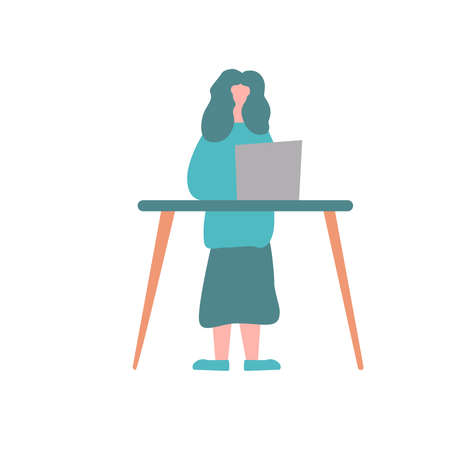 Picture of a girl working in the office on a white background. Vectores