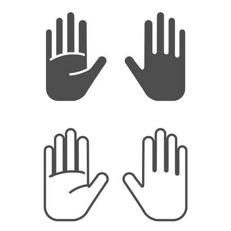 Hand icon on a white background.