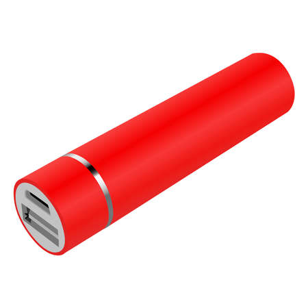 realistic red power bank. Vector illustration Vectores