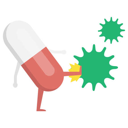 Pill beats with a virus on a white background Vectores
