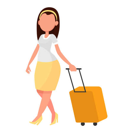Picture of a girl with a suitcase on a white background.
