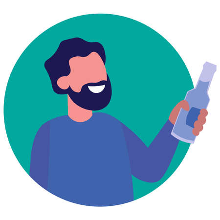 Icon of a man with a beard with alcohol on a white background.