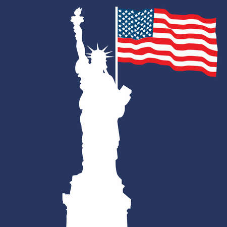Picture of the Statue of Liberty on a blue background. Ilustracja