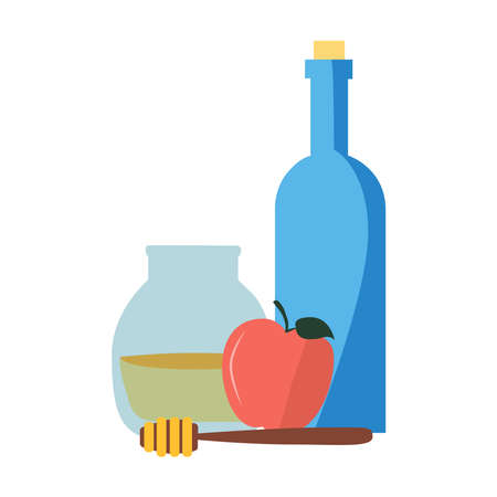 Picture of honey, apples, and wine on the table on a white background.