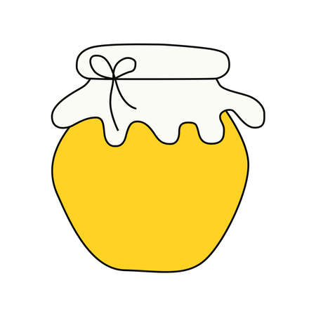 Picture of jars of honey on a white background. Ilustracja