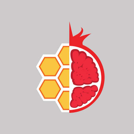 Pomegranate and honey icon on gray background.