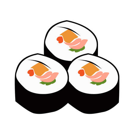 picture of sushi on a white background.