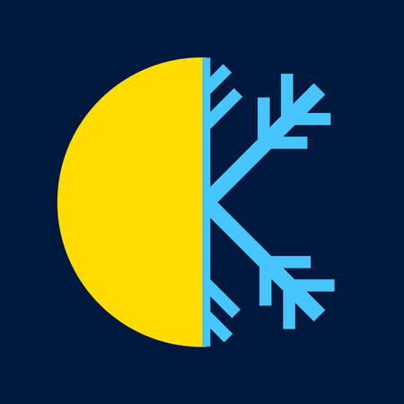 Heat and cold icon on a blue background. Ilustracja