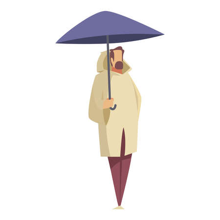 Picture of a man with an umbrella on a white background.