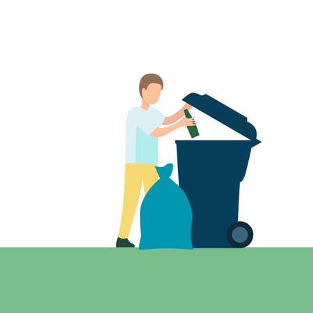 Picture of a man throwing garbage on a white background.