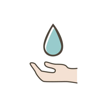 Water saving hand icon on a white background.