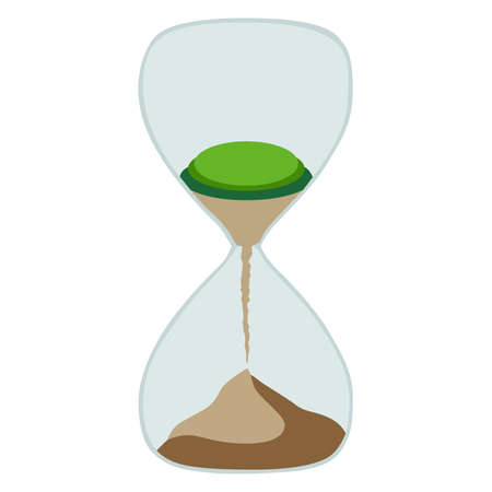 Hourglass with the planet. Icon for planet day on a white background.