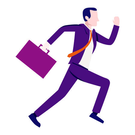 Picture of a businessman running on a white background.