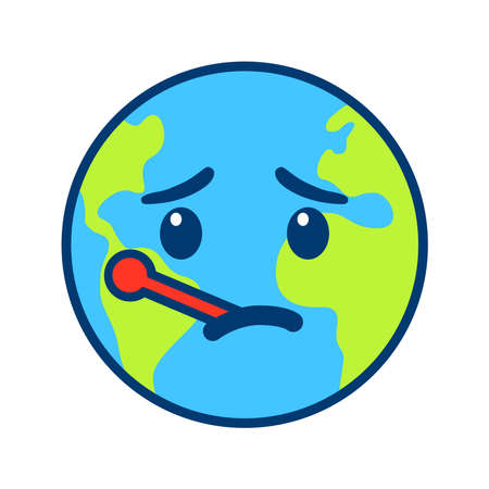 Icon of a sick planet on a white background.