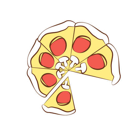 Picture of pizza on a background. An interesting picture.
