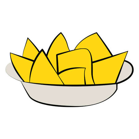 Picture of a plate of chips on a white background.