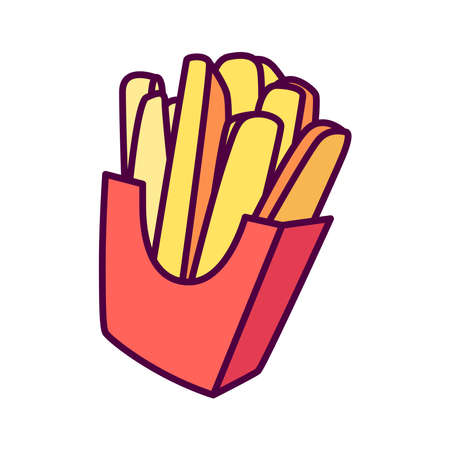 Picture of french fries on a background. An interesting picture.