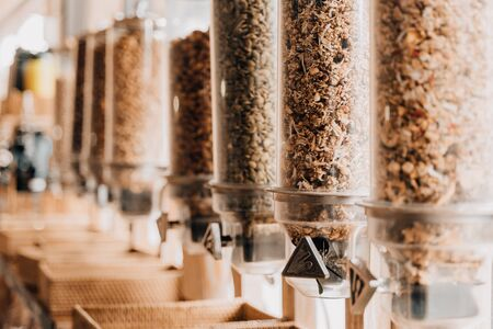 Eco-friendly zero waste shop. Dispensers for cereals.