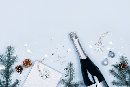 Festive decorations on blue table. Stock Photo