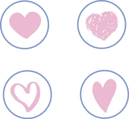 simple cute vector round symbols icons in pastel delicate colors with hearts with different textures for decor stickers stories