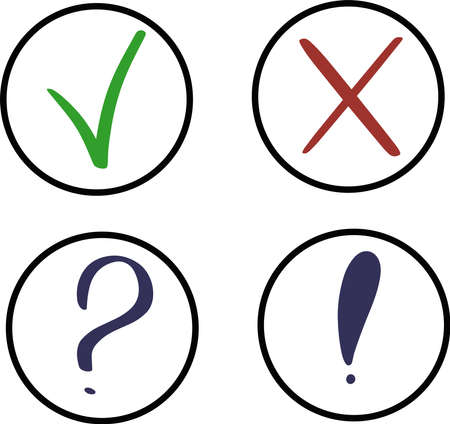 simple vector sign icon round buttons with images question mark exclamation mark check mark correct cross wrong or error in different colors