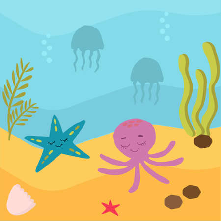 vector illustration. Underwater world, marine life of oceanic animals. Jellyfish and seahorses, whale and stars, crabs and turtles swim in the water. Around the driftwood, the sand and air bubbles. Brightly colored Illustration