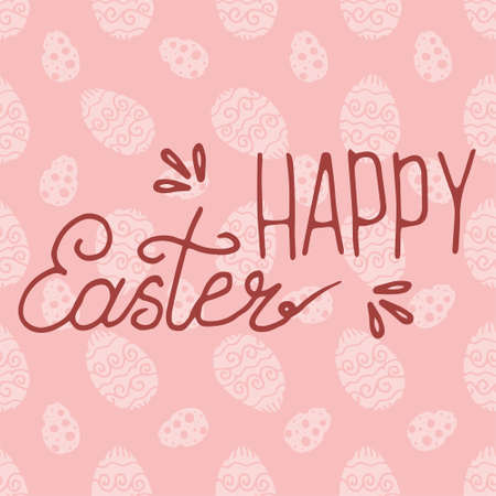 Hand lettering Happy Easter text as Pascha logotype. Drawn Resurrection Sunday postcard, invitation, poster, banner template lettering. Seasons Greetings. Background is seamless pattern with eggs