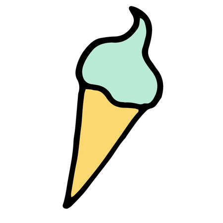 vector illustration colored doodle ice cream.