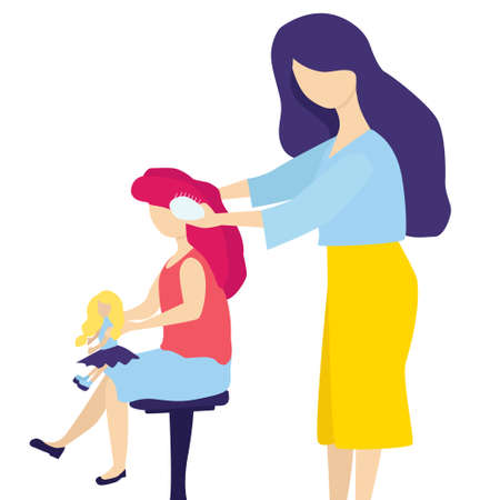 A tender mother combs her young daughters hair with a comb, and the girl holds a doll in her hands. Homeliness, cozy relations, care, love, concern, preoccupation, regard. Vector flat illustration.