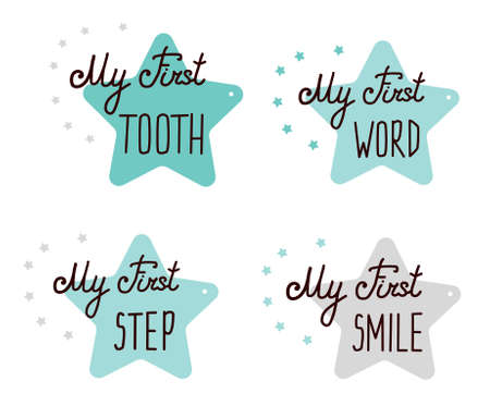 Cute Baby milestone cards. for monthly picture Cards and baby shower gift. Adorable collection with quotes My First Step Word Smile Step. Isolated on white. Blue stars. Hand drawn lettering. Illusztráció