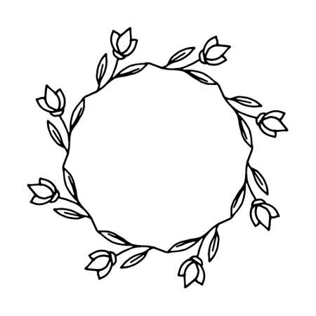 vector illustration of floral frame. Rustic. Hand drawn simple line. Black stroke. Isolated on white background. Elegant and noble. Best for wedding design. Invitation. Copy space